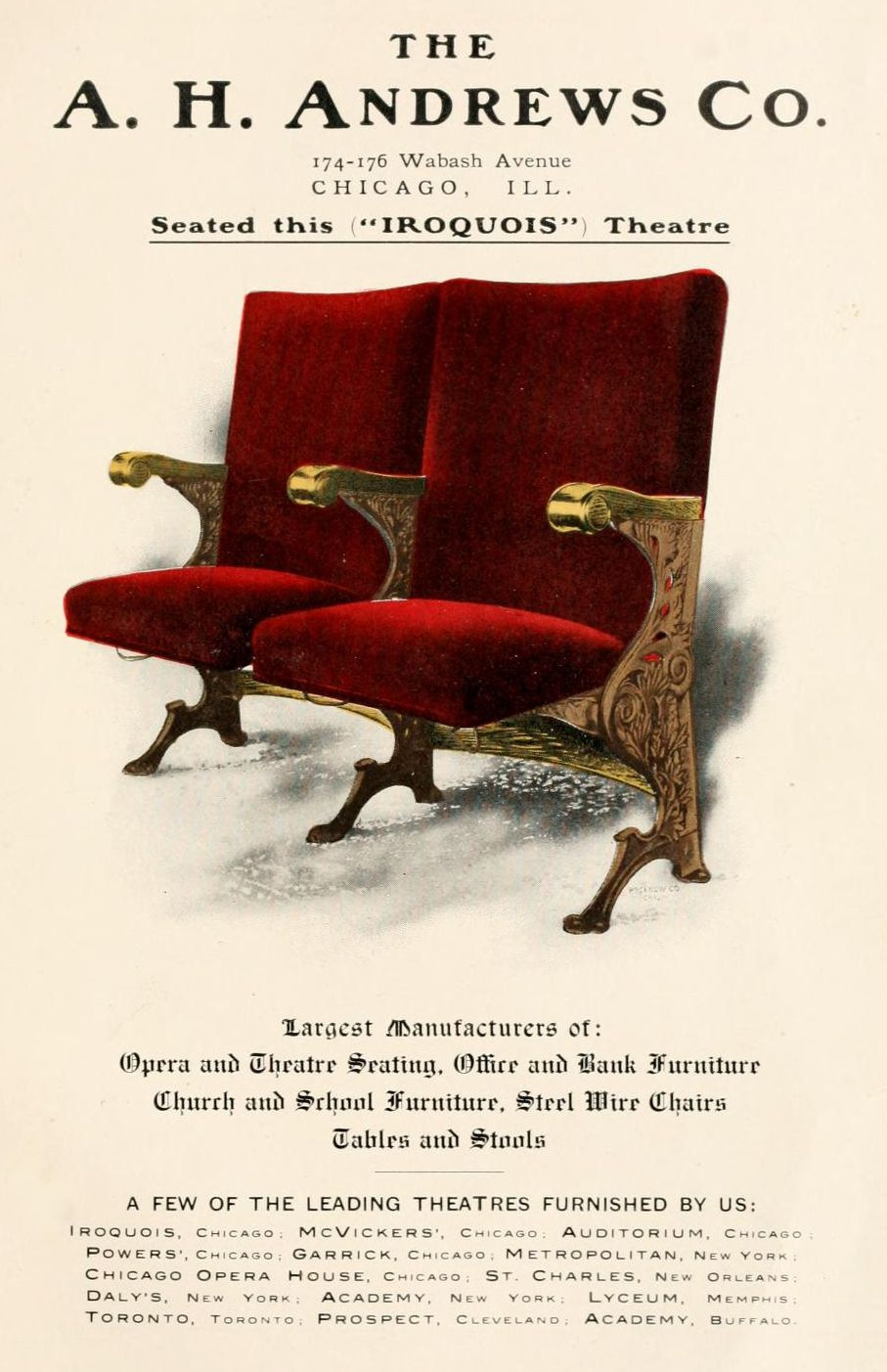 A.H. Andrews was a major supplier of comercial furniture