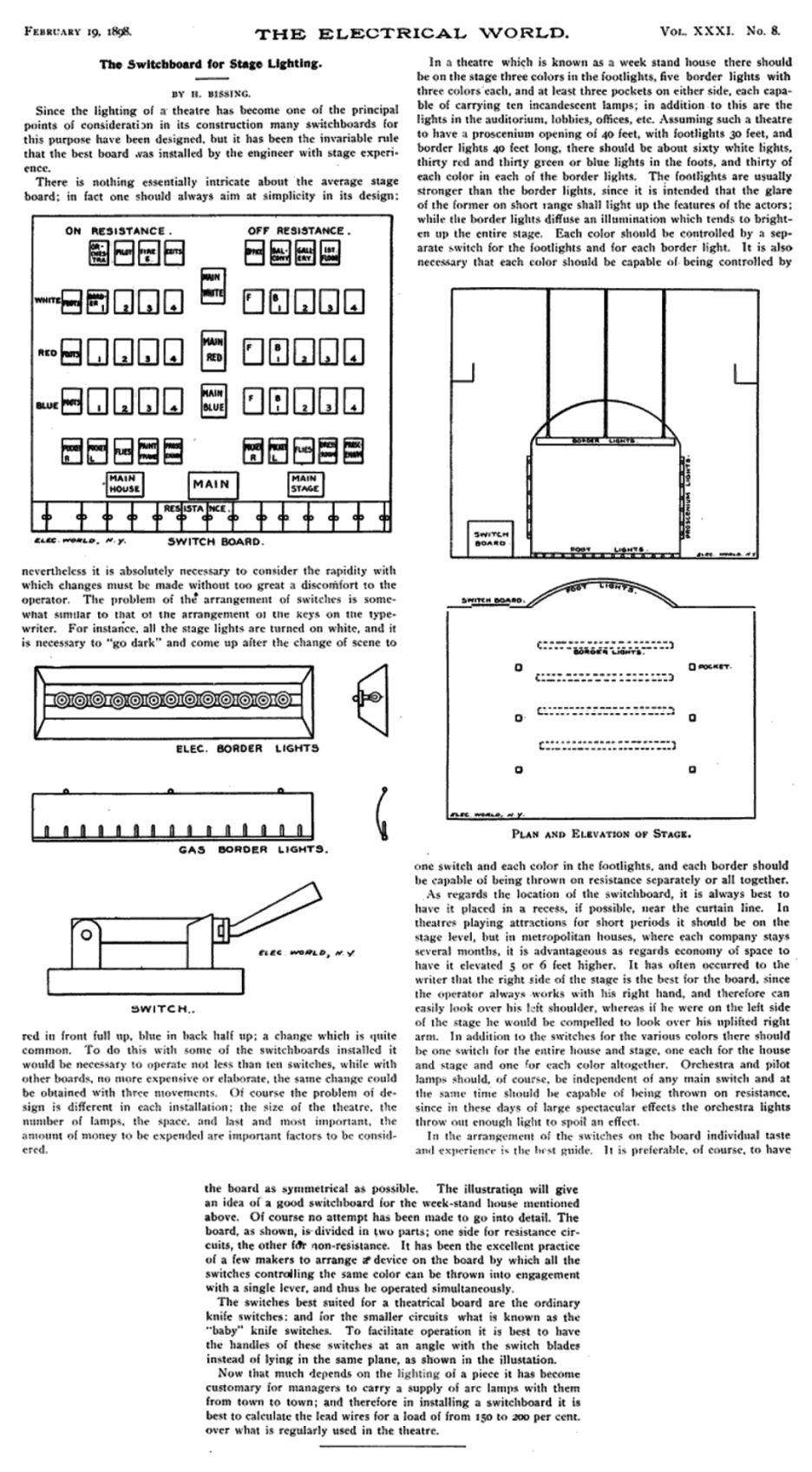 Archie Bernard Was Busy Pulling Switches But His Ears Were Paying Theater Lighting Diagram Harry Bissing 1898 Article About Switchboard Design