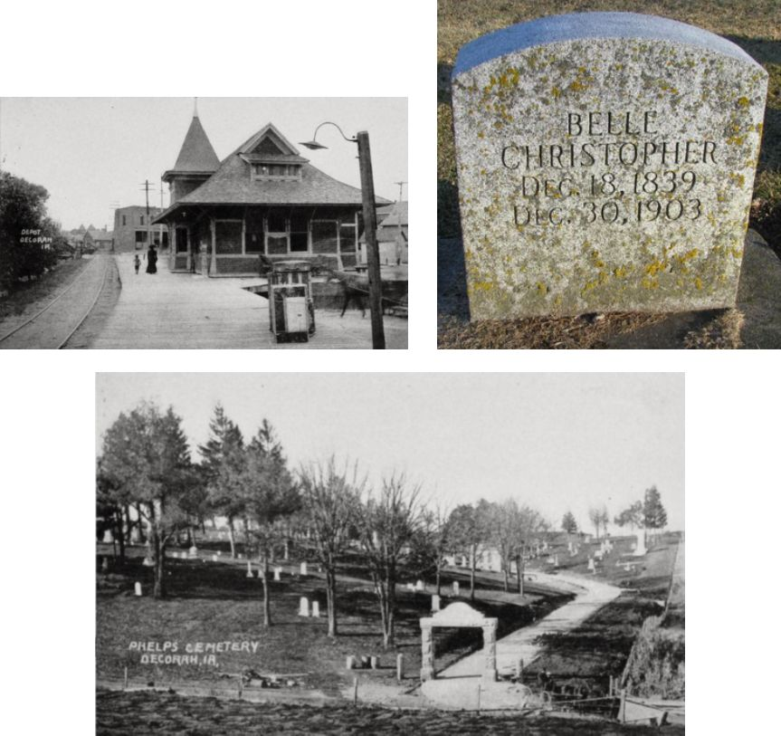 Belle Christopher's Decorah, Iowa train station and Phelps Cemetery in early 1900s