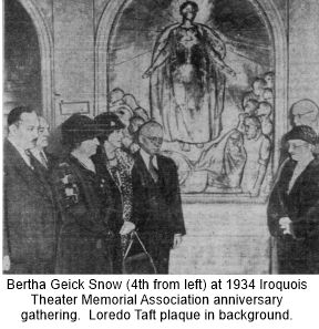 Bertha attended 1934 Iroquois Theater memorial gathering