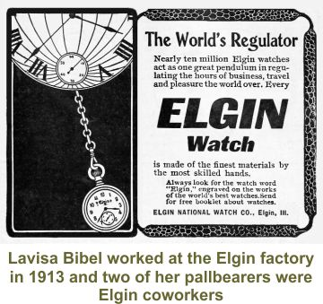 Charles Bibel's wife worked at Elgin watch factory