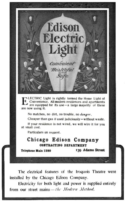 Chicago Edison advertisement that appeared in Iroquois Theater program
