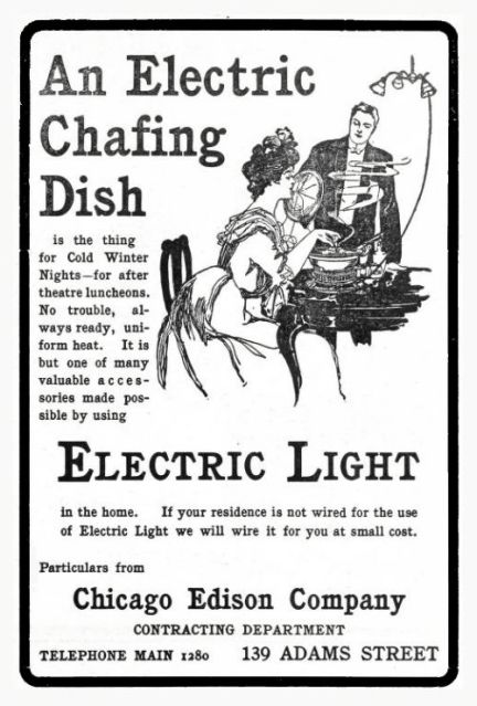 Chicago Edison appliance advertisement reveals interesting transitional time in technology.  Not every residence converted to electric lights had wall outlets.