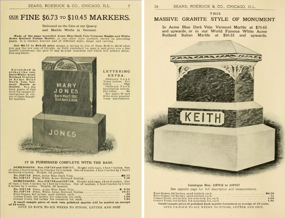 Tombstone cost in 1902