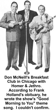 Frank Holland wrote theme song for Don McNeill Breakfast show