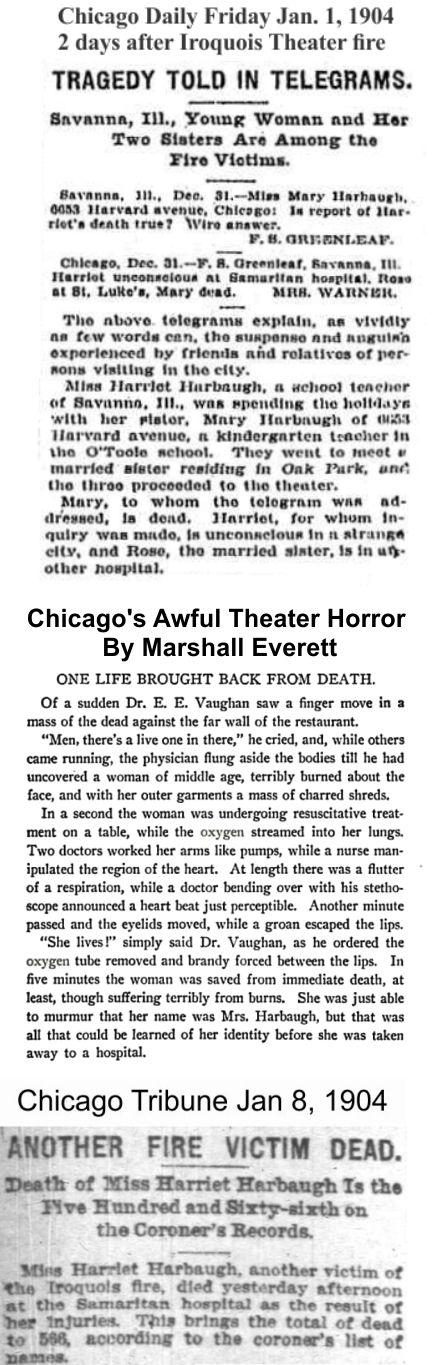 Clipping tells story of Harbaugh girls Iroquois Theater experiences and in later years