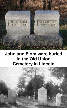 John and Flora Boyden buried in Old Union Cemetery