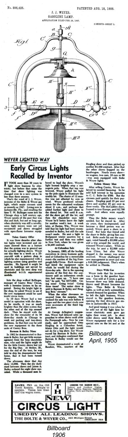 Charles G. Bolte and the Weyer gas lamp in the circus industry