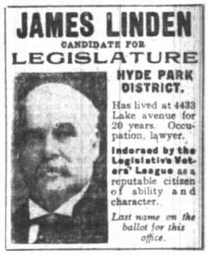 James Linden 1908 run for judge