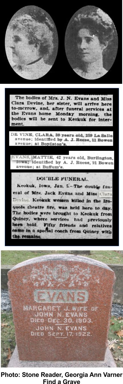 Margaret Evans and her sister Clara Devine died at the Iroquois Theater