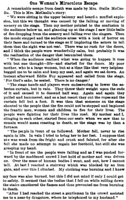 Estella McCaslin describes the Iroquois Theater escape in which her mother perished