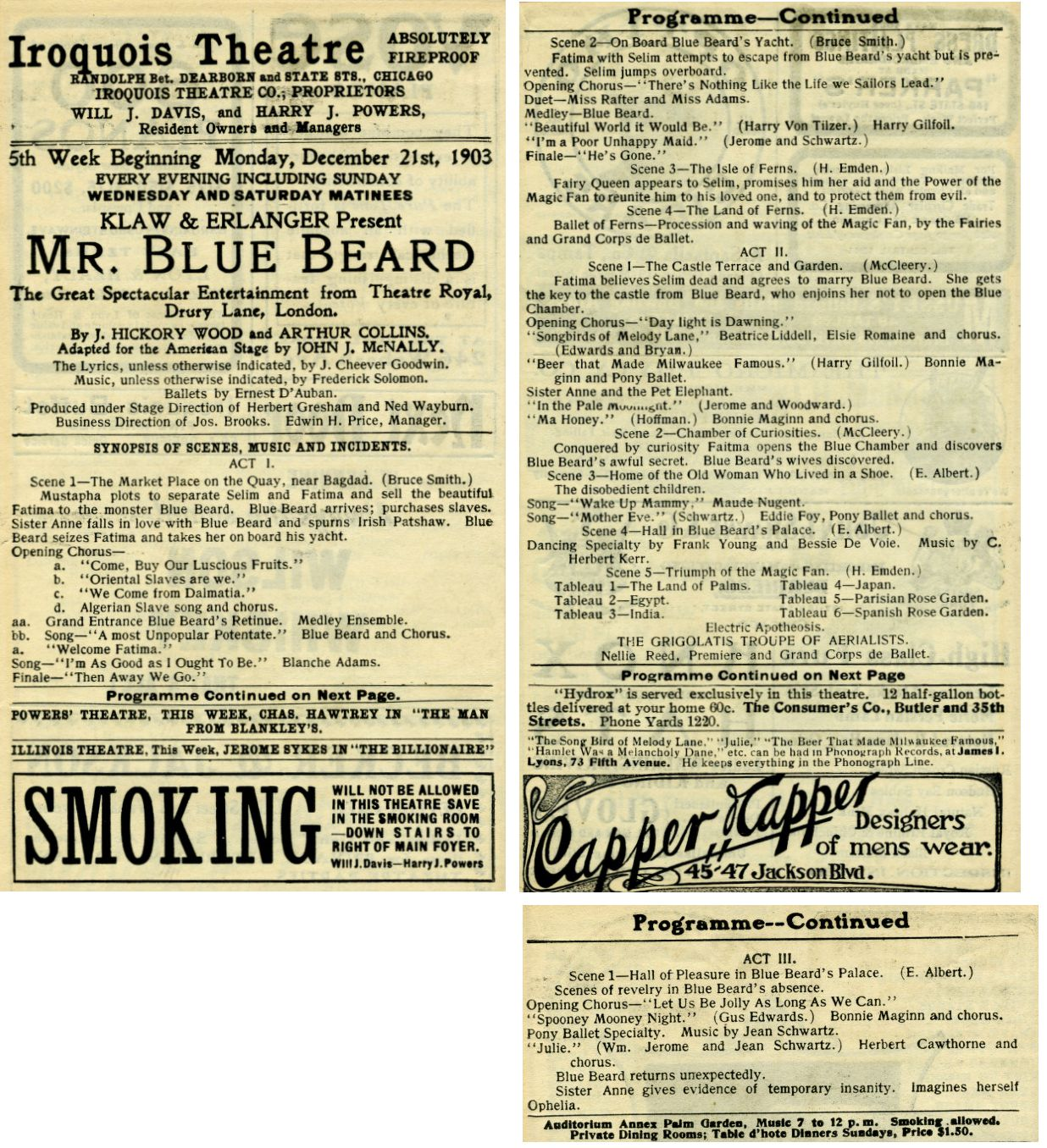 Mr Bluebeard program during Iroquois Theater disaster