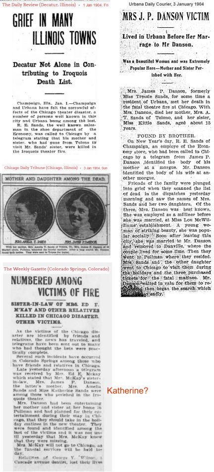 More information about Amelia and Jessie Sands and Tressie Danson