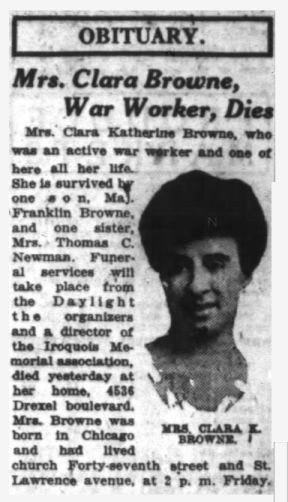 Clara Brownes newspaper Obituary