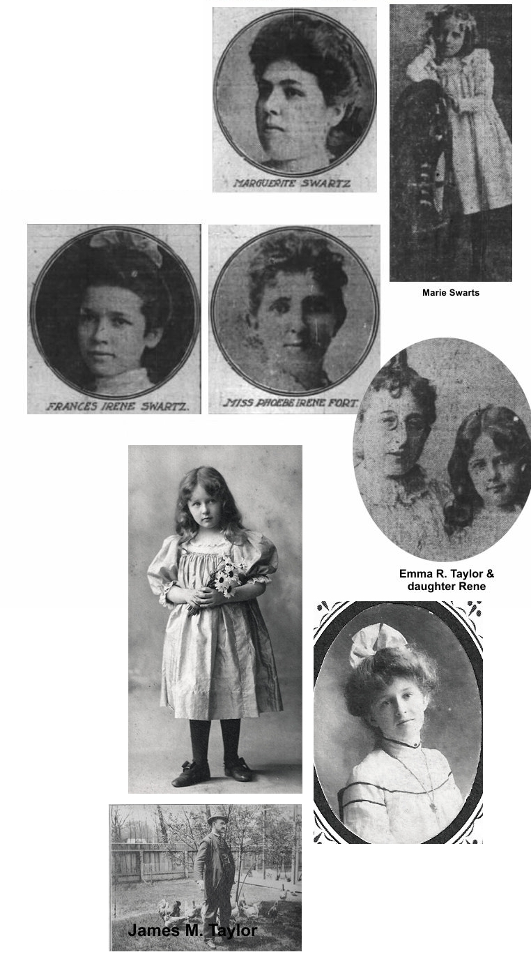 Three children, man and wife and school teacher in swartz, Fort and Taylor families
