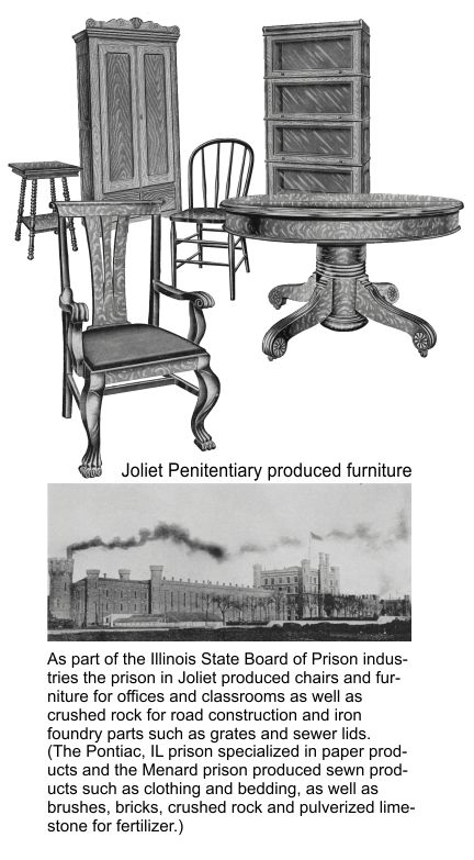 Joliet Illinois prison made chairs and other furniture
