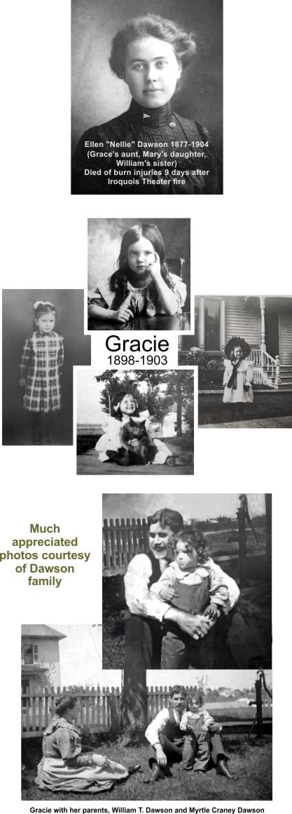 Five year old Gracie was the youngest of the Dawson victims at Iroquois Theater
