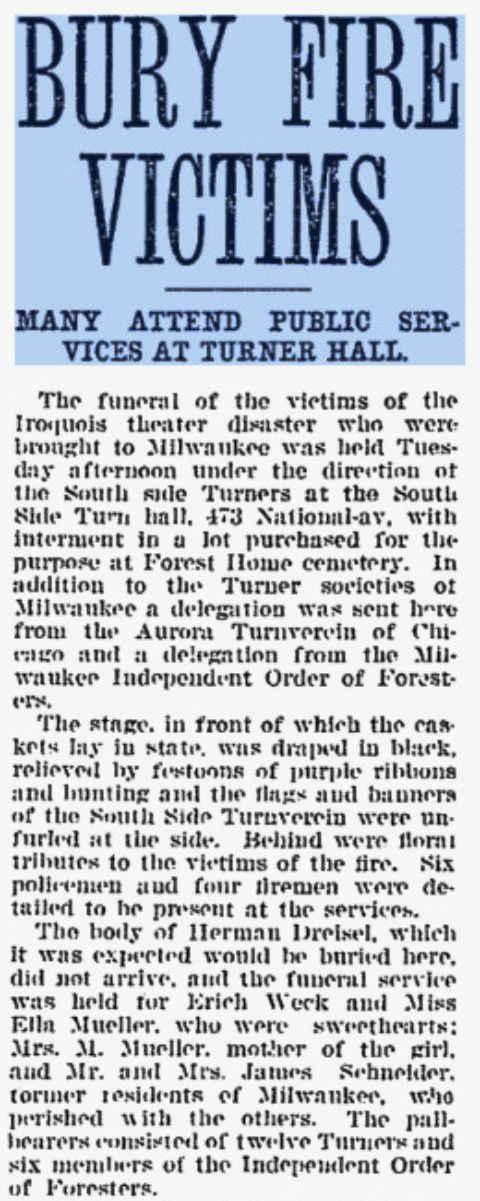 Milwaukee 1904 newspaper story about Turners in Iroquois Theater fire