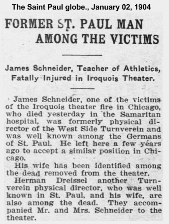 St. Paul Minnesota newspaper story about Turners in Iroquois Theater fire